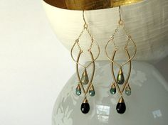 Verdant Night 14K Gold Fill Earrings--Labradorite, Tourmaline, Spinel. Handmade Wire Wrapped Jewelry, One-of-a-kind, Chandelier, Art Deco