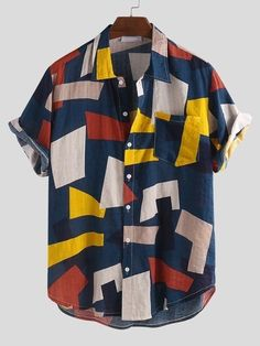 ChArmkpR Mens Summer Hit Color Printed Chest Pocket Turn Down Collar Short Sleeve Loose Shirts Best Online - NewChic Mobile Loose Shirts, Henley Shirts, Shirt Blouses, Button Shirts, Short Sleeve Blouse, Short Sleeves, Short Sleeve Shirts, African Tops, Shorts With Pockets