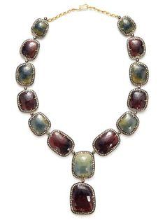 Amrapali Champagne Diamond & Multicolor Sapphire Pendant Necklace