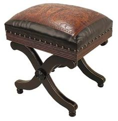 Two Tone Leather Stool Western Benches