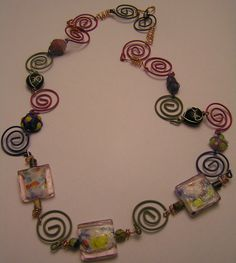 Funky Necklace Colorful Paper Clips and Lampwork by BeadsStonesEtc, $9.00