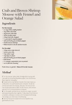 Miele Summer Recipe: Crab and Brown Shrimp Mousse with Fennel and Orange Salad Recipe