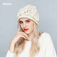 Flower knit hats for women hollow design beanie hats