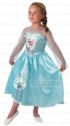 This officially licensed, Classic Elsa Costume features a calf length, satin, crystal blue dress with sparkling, silver braid trim and character print to bodice front, stretch fabric to back and pretty, glittering, translucent, long sleeves with pointed hem. From the outside, Elsa looks poised, regal and reserved, but in reality, she lives in fear as she wrestles with a mighty secret, she was born with the power to create ice and snow.
