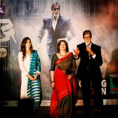 Bollywood's biggest star, Amitabh Bachchan, right, speaks as he stands before a poster of his upcoming television fiction series 'Yudh' with co-actors, Aahana Kumra, left, and Sarika, during its promotion in New Delhi, India, Wednesday, June 11, 2014.