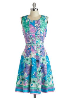 Delray Beach Dress - Floral, Long, Woven, Purple, Belted, Party, Sleeveless, Summer, Best, Scoop, Blue, Daytime Party, Spring