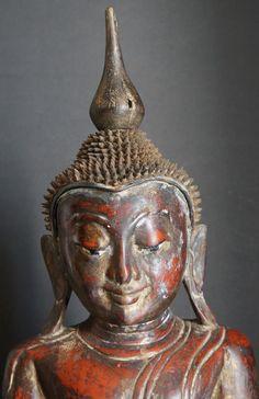 photos of antique buddahs | Burmese Antique Wooden Pagan Buddha Statue | Burmese Buddha