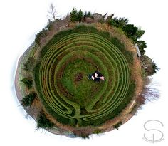 """""""Took this picture of the living labyrinth the other day, just after it got a winter haircut.   This is a seven circuit classical hedge labyrinth with enlarged centre, designed and constructed by Fred Wieler a number of years ago.  Here is a link to the blog post about the living labyrinth at Hagal Farm if you are interested to know more about it. http://hagalfarm.blogspot.com/2010/05/labyrinth.html """""""