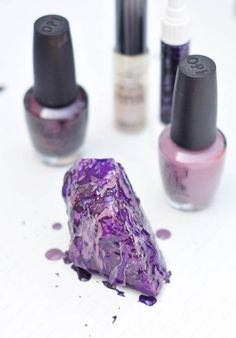 DIY Rock Crystals with Nail Polish-purple