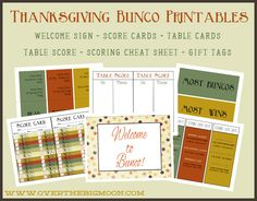 FREE Printable Thanksgiving Bunco Printables from Over the Big Moon...