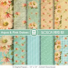 Digital Paper Aqua Floral Digital Paper Pack, Daisies Floral Collage Sheet, Scrapbooking Printables - INSTANT DOWNLOAD - 1642