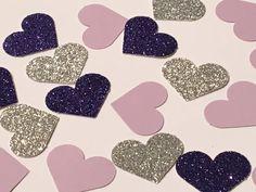 225 Heart Confetti Purple Confetti Glitter by JBPartyCreations