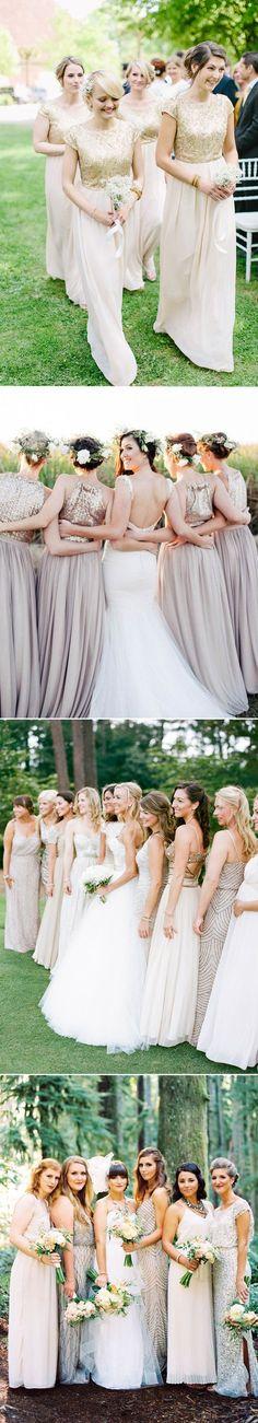 metallic real wedding long bridesmaid dresses for fall 2015