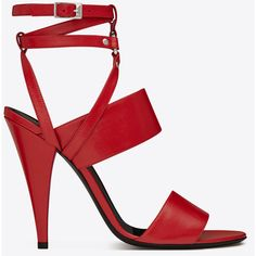 Saint Laurent Fetish 105 Triple Ankle Strap Sandal In Red Shiny... ($1,195) ❤ liked on Polyvore featuring shoes, sandals, heels, red, ankle wrap sandals, leather ankle strap sandals, red heel shoes, ankle tie sandals and red shoes