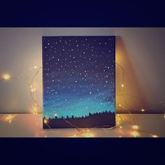 "Starry night painting This Starry night time sky painting was hand painted by me, It was inspired by a photograph I took last year around this time! It was painted with long lasting acrylic paints using mostly brush technique. There is lots of detail from the night time stars, all the way to the trees! ❤ This 8""x10"" canvas painting would look amazing in any room and would definitely bring a little more color into your life, as well as give you that night time feel you are looking for. Lilly…"