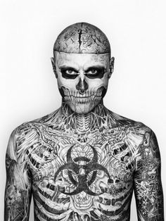 Rick Genest AKA Zombie Boy. Wow...extreme but he looks like he is wearing a mask or costume