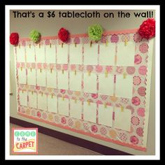 It's not paper, it's not fabric, it's a tablecloth! Thinking outside of the box for bulletin board ideas.