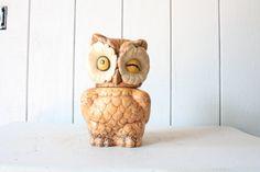 Owl Cookie Jar // Storage Container by genrestoration on Etsy, $75.00