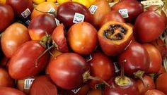 Tamarillos from south america - like a pomegranate but smaller and very sour. Pomegranate, South America, Natural Remedies, Vegetables, Health, Garden, Food, Images, Recipe