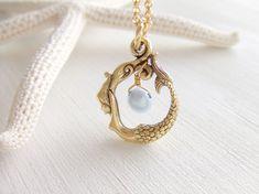 Gold Mermaid Jewelry Necklace Blue Freshwater by twinpearlsjewelry, $13.00