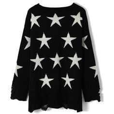 Chicwish Shredded Stars Print Black Sweater ($43) ❤ liked on Polyvore featuring tops, sweaters, pullover sweater, oversized sweater, loose fitting sweaters, star sweaters and star print top