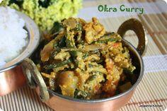 Hyderabadi okra recipe, side dish for roti - Jeyashri's Kitchen Green Vegetable Recipes, Veggie Recipes, Salad Recipes, Vegetarian Recipes, North Indian Recipes, Indian Food Recipes, Okra Curry, Indian Vegetarian Dishes, My Favorite Food