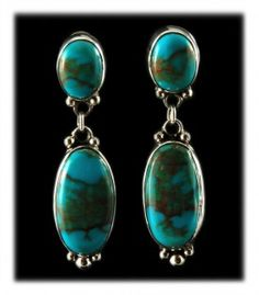 Stormy Mountain Turquoise Dangle Earrings by Navajo Jewelry artist Ben Yazzie