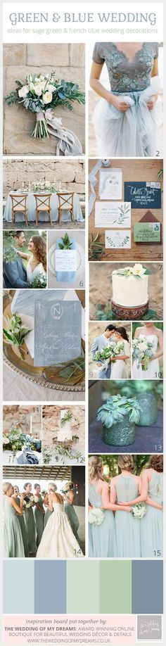 Sage Green and French Blue Wedding Color Scheme scheme # .- Sage Green und French Blue Wedding Farbschema Sage Green and French Blue Wedding color scheme - Blue Wedding Decorations, Wedding Themes, Wedding Centerpieces, Wedding Bouquets, Wedding Flowers, Bridesmaid Bouquets, Wedding Bridesmaids, Bridesmaid Color, Bridesmaid Dresses Sage Green