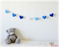 Blue heart banner/ garland/ bunting  felt hearts by LullabyMobiles