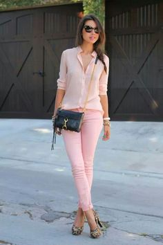 Nice  Pink outfit  with animal print pumps...