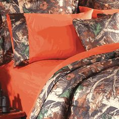 Orange Camo Sheet Set - Queen