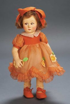 """Wonderful All-Original and Fresh Italian Felt Child Doll by Lenci  14"""" (36 cm.) Felt swivel head with pressed and painted facial features,brown side-glancing eyes,curly upper lashes,fringed brows,accented nostrils,closed mouth with glazed lower lip,brunette mohair bobbed wig,jointing at shoulders and hips."""