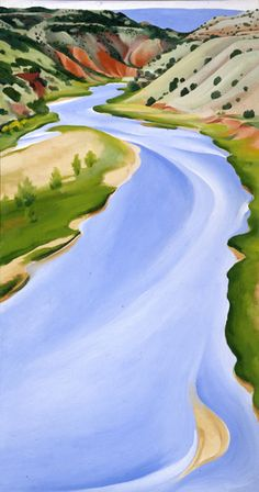 """Chama River, Ghost Ranch, New Mexico (Blue River) by Georgia O'Keeffe, 1935. Oil on canvas, 16 1/2 x 30 1/2"""" (41.9 x 77.5 cm)"""