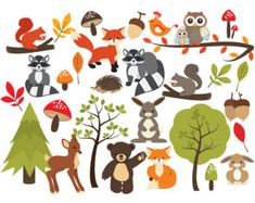 woodland critters clip art set of 30 300 dpi png jpg and vector rh pinterest com deciduous forest animals clipart rainforest animals clipart
