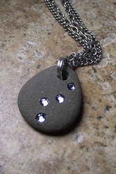 SALE - Beach Stone Jewelry - Path of Enlightenment - Beach Rock and Swarovski Crystal Necklace