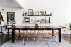 """And the copper-finished wire <a href=""""http://shop.bendgoods.com/products/lucy"""" target=""""_blank"""">dining chairs</a> from Bend Goods are too die for. We love them so much that it hurts."""
