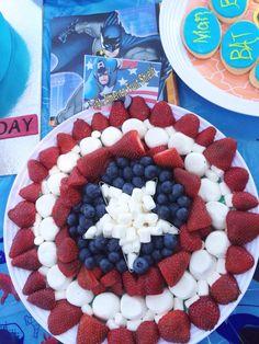 Superhero Party Food Captain America fruit platter