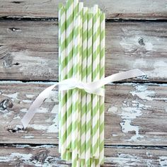 Striped Party Straws - Apple Green - $4.50 for 24