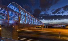 Interstitial Spaces of Light: Ephemeral Bicycle Infrastructure - Architizer Pedestrian Bridge, Bicycle Lights, Light Architecture, Modern Landscaping, Lighting Design, Design Inspiration, Landscape, Street, Building