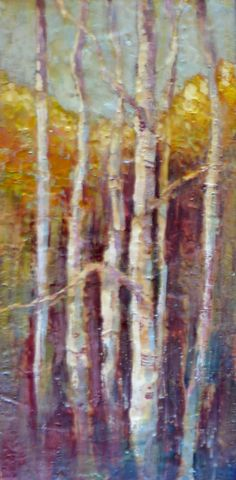 Trees ~ Encaustic 12 x 24   Loved doing these trees.  They don't photograph as well as I would have liked.  The beauty of encaustic is the wonderful layering of molten beeswax, which helps create depth, and doesn't show here.