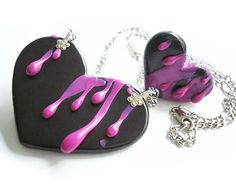 """Heart Collection / """"Pink Splatter"""" / Handmade polymer clay ring and necklace set. $46.00, via Etsy."""