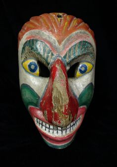 Wonderful Vintage Hand-carved Clown Dance Mask from Guatemala