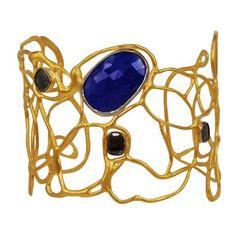 Vassiliki Sapphire Cuff Bracelet ($8,500) ❤ liked on Polyvore featuring jewelry, bracelets, 18k bangle, 18k jewelry, studded cuff bracelet, cuff bangle and 18 karat gold jewelry
