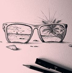 Beach travel beach drawing, beach wallpaper iphone, beach make Pencil Sketches Easy, Art Drawings Sketches, Easy Drawings, Cool Simple Drawings, Tumblr Art Drawings, Beach Sketches, Shell Drawing, Beach Drawing, Beach Outfit Plus Size
