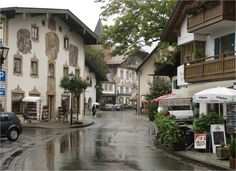 Oberammergau, Germany - where they have the Grimm tales painted onto the buildings, very cool.