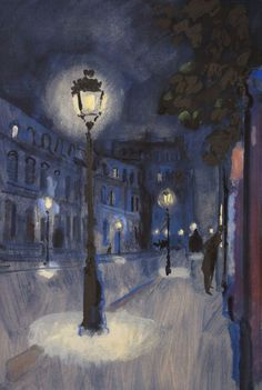 Bernard Lamotte ( 1903 - 1983 ) Street at night Watercolor City, Easy Watercolor, Watercolor Landscape, Paris At Night, Night City, Landscape Drawings, Landscape Paintings, Nocturne, City Drawing