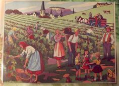 Old card Expo poster School Edition the harvest in Burgundy Romanée-Conti, Bordeaux Sauterne Yquem France Champagne