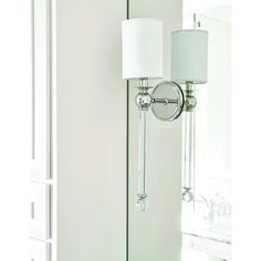 Hudson Valley Gordon Polished Nickel One Light Wall Sconce With White Silk Shade 6031 Pn Lighting Sale, Home Lighting, Lighting Ideas, Candle Wall Sconces, Wall Sconce Lighting, Crystal Sconce, Faceted Crystal, Bath Light, Hudson Valley Lighting