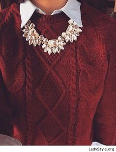 Shirt, brown sweater and necklace - LadyStyle