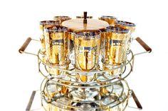 Mid-Century 22 Kt Gold Signed Vito Bari 10-Piece Barware Set    Retro Hollywood Regency Madmen Bar Highballs Ice Bucket Caddy Teak Details by ELECTRICmarigold on Etsy